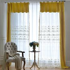 Yellow Sheer Curtains Yellow Floral Beautiful Embroidered Pom Pom Sheer Curtains