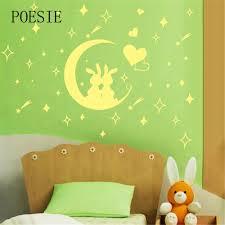2016 creative removable childrens bedroom moon rabbit fluorescent