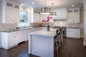 white and grey kitchen kitchen transitional with gray counter