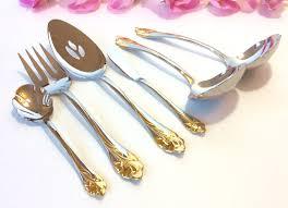 6pcs gold accent flatware hostess set oneida usa flower floral