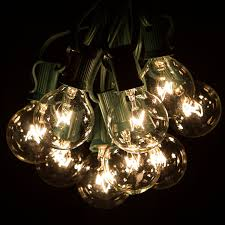 String Lighting For Patio 50 Foot G40 Globe Patio String Lights With Clear Bulbs