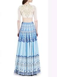 color designer blue color designer digital printed lehenga choli with long top