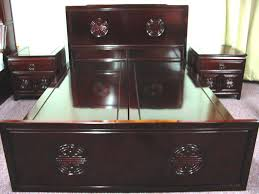 Chinese Bedroom Set Solid Rosewood Furniture 4 Drawers Bed With 2 Lamp Tables