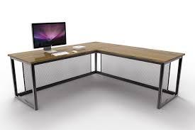 L Shaped Metal Desk Otis Industrial Corner Desk Oak And Steel Ltd In