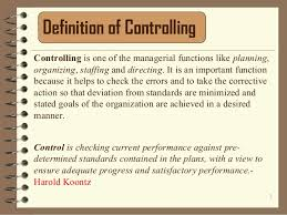 controlling definition management controlling