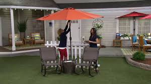 atleisure 9 u0027 solar crank u0026 tilt balcony patio umbrella on qvc