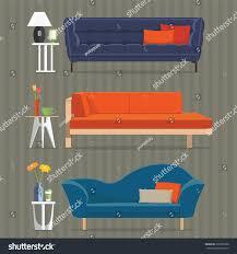 living room furniture design concept set stock vector 322095509