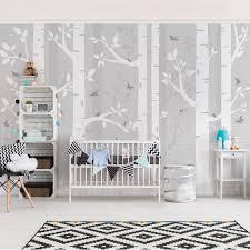 kinderzimmer in grau kinderzimmer fototapete birkenwald mit schmetterlingen und vögel