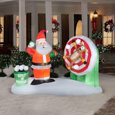 christmas inflatables gemmy animated airblown santa snowball