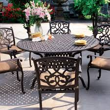 Darlee Santa Monica  Piece Cast Aluminum Patio Dining Set With - 7 piece outdoor dining set with round table