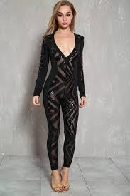 black sequin jumpsuit black sheer sequin v cut sleeve dressy jumpsuit
