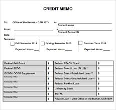 credit memo template pdf