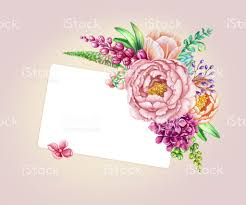 Blank Invitation Cards Templates Watercolor Illustration Floral Background Wild Flowers Bouquet