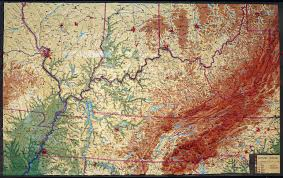 Map Of Kentucky And Ohio by Large Extreme Raised Relief Map Of Kentucky And Tennessee