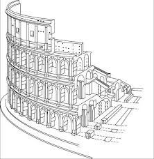 colosseum rome drawing sketch coloring page