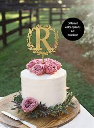 gold monogram cake toppers letter r monogram wedding cake topper monogram cake