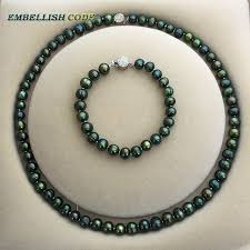 green pearls necklace images Low price 7 8mm necklace bracelet set promotions sale dark jpg