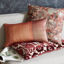 jacquard velvet flower heads pillow cover burgundy west elm