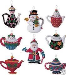 bucilla engelbreit santa teapots felt ornaments kit