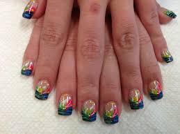 stripes polka dots blue yellow gitter nails nail art nail 20