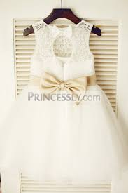 bow belt keyhole ivory lace tulle flower girl dress with chagne pink