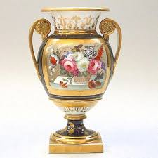High Vases English Porcelain Empire Style Vase Circa 1830 With Twin Gilt