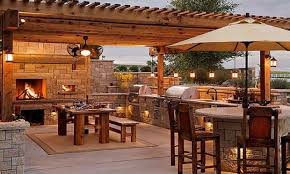 designing an outdoor kitchen rustic outdoor living area kitchen