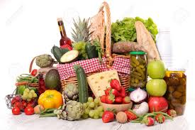 fruit and vegetable basket basket with fruit vegetable and healthy food stock photo picture