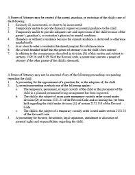 Medical Power Of Attorney Form Arizona by Ohio Minor Child Power Of Attorney Form Power Of Attorney