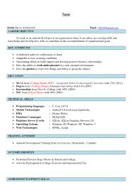 Career Objective For Resume For Fresher Sample Resume For Android Freshers Templates