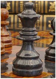 red and black solid marble complete chess set crafted with detail