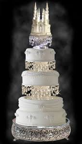 gorgeous wedding cake with swarovski crystal cinderella castle