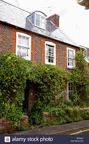 green climbing plants on traditional country house with dormer