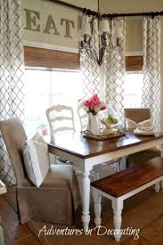 Curtains In The Kitchen Bay Window Farmhouse Table Bench And Different Chairs It