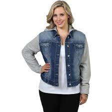 jean sweater jacket plus size ariya denim jacket with built in hooded sweater polyvore