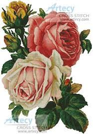 artecy cross stitch roses counted cross stitch pattern