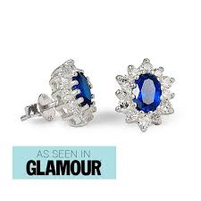 silver stud earrings uk stud earrings with sapphire and cubic zirconias harry fay jewellery