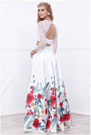 two piece floral print prom dress with lace sleeves home