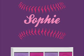 softball stitches laces vinyl wall decal with custom