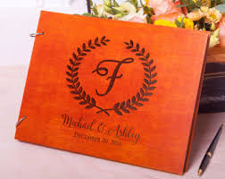 monogrammed wedding guest book wedding guest books etsy