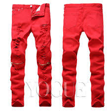 Ripped Knee Jeans Mens Men Rock Roll Punk Gothic Retro Skinny Pants Knee Zipper Ripped