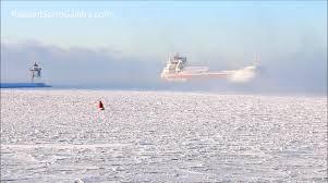 lake superior sea smoke newsflare ship arrives through sea smoke on lake superior in