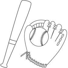 coloring page of a bat baseball glove coloring pages getcoloringpages com
