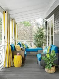 gray porch with yellow stripe grommet curtains cottage porch