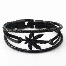 leather leaf bracelet images Handmade leather leaf and feather bracelet theblingmarket jpg