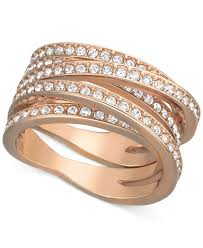 swarovski rings gold images Lyst swarovski rose gold tone crystal crossover ring in metallic jpeg