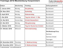 Kalender 2018 Feiertage Mv Feiertage Mecklenburg Vorpommern 2017 2018 2019