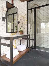 subway tile bathroom floor and wall contrasting patterns white
