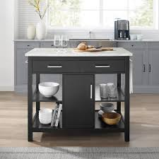 kitchen cabinet marble top crosley furniture black kitchen island with faux