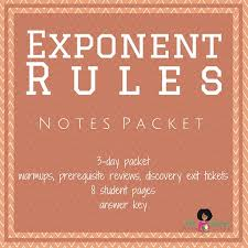 exponent rules notes packet pdf